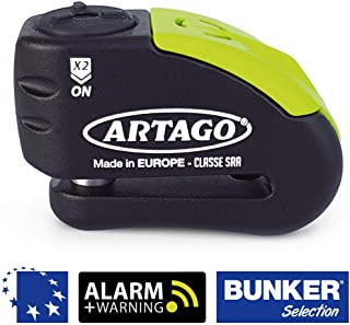 Artago 30X14 Candado Antirrobo Disco con Alarma + Warning 120 dB Alta Gama- o14 Doble Cierre- Homologado Sra y Sold Secure Gold- Bunker Selection- Negro-Amarillo- 14 mm